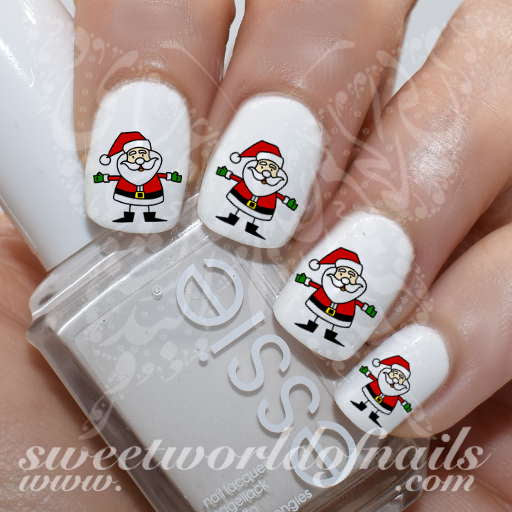 Christmas Nails Cute Santa Nail water decals