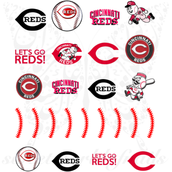 Cincinnati Reds Nails Baseball Nail Art Water Decals