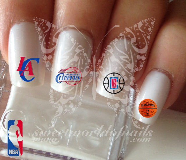 Los Angeles Clippers NBA Basketball Nail Art Water Decals Nail Transfers  Wraps - Los Angeles Clippers NBA Basketball Nail Art Water Decals Nail Transfe