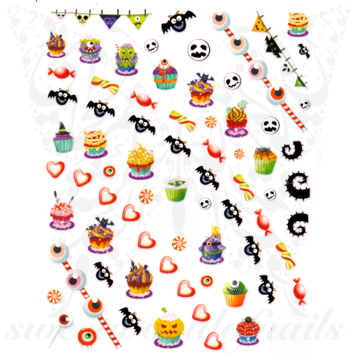 Cute Halloween Nails Candy Cupcake Nail Stickers
