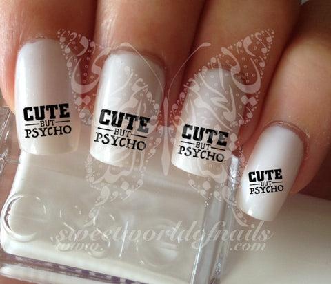 Cute but psycho Nail Water Decals Transfers Wraps