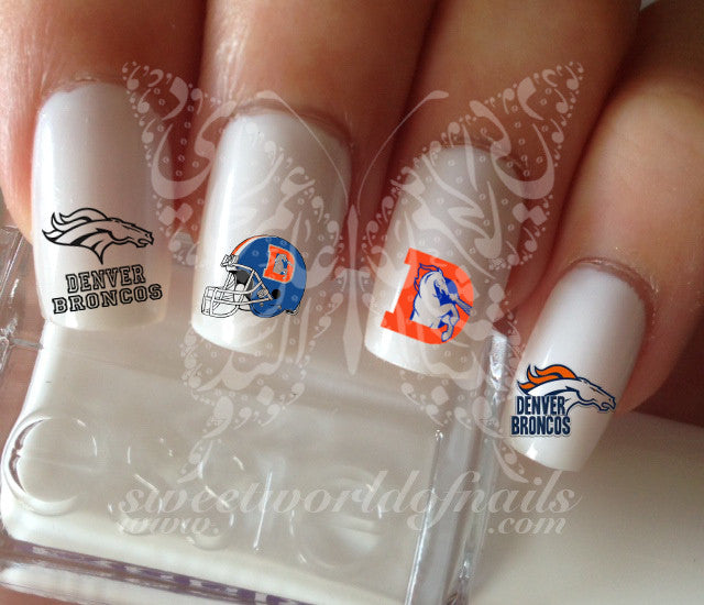 Denver Broncos Football Nail Art Water Decals