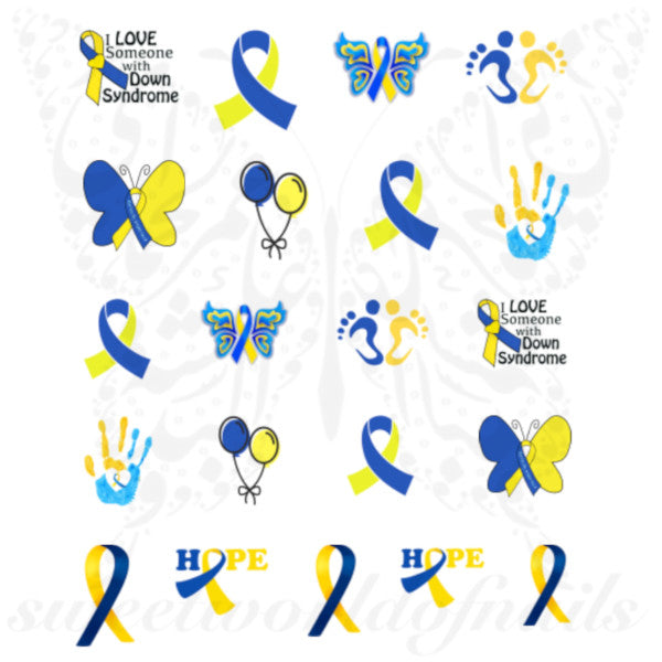 Down syndrome awareness day Nail Art Water Decals