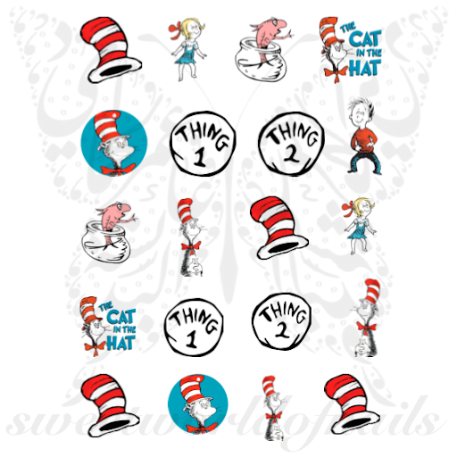 Dr. Seuss Nails The Cat in the Hat Nail Water Decals
