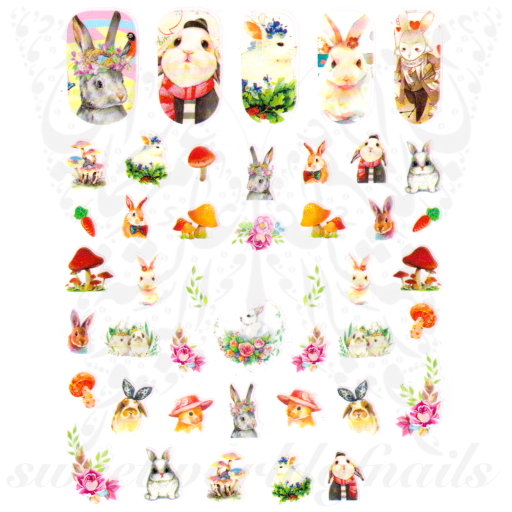 Easter Nail Art Bunny Rabbit Nail Stickers