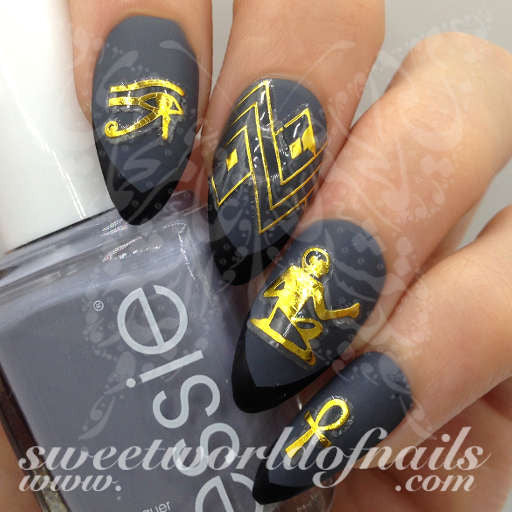 Egyptian Nail Art Gold Eye of Ra Egypt Key Nail Stickers