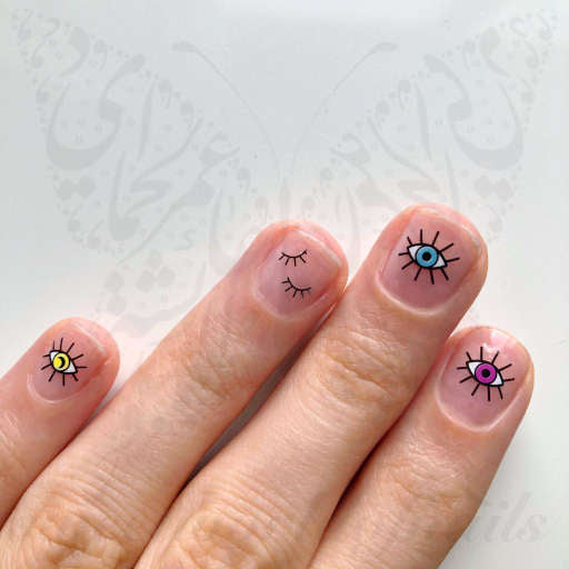 Evil Eye Nail Art eye Lashes Nail water decals