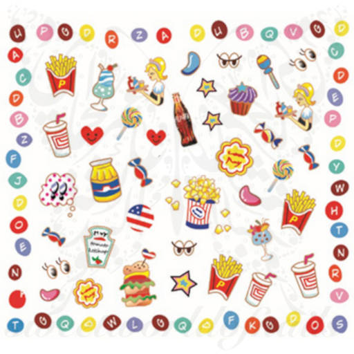 Fast Food Potato Candy Nail Art Water Decals
