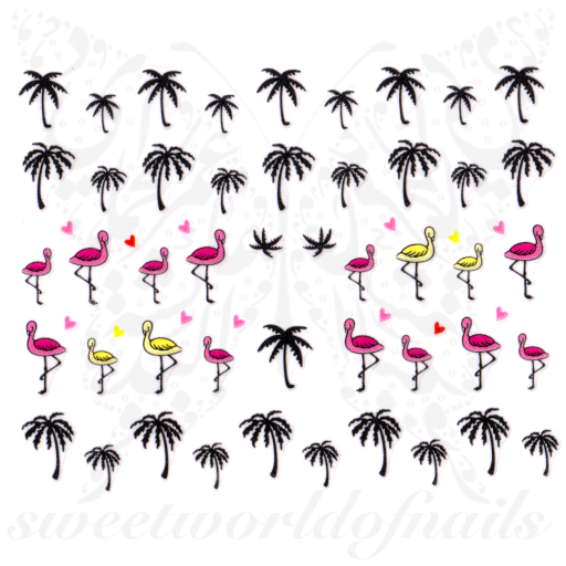 Flamingo Palm tree Nail Art Nail Stickers