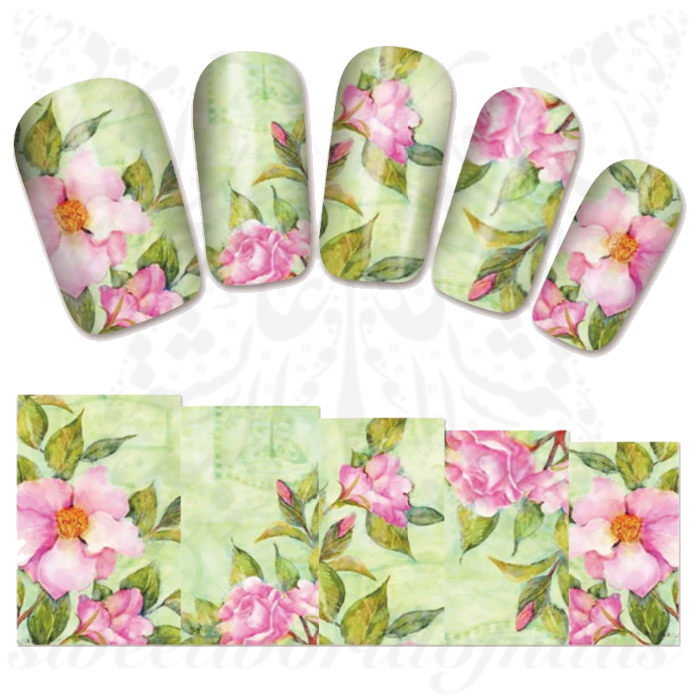 Floral Nail Art Water Full Wraps Transfers