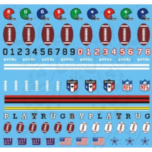 Football NFL Rugby Six Nations Nail Water Decals