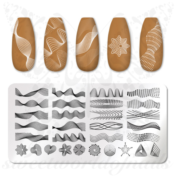 Geometric Nail Art Lines Nail Stamping Plate