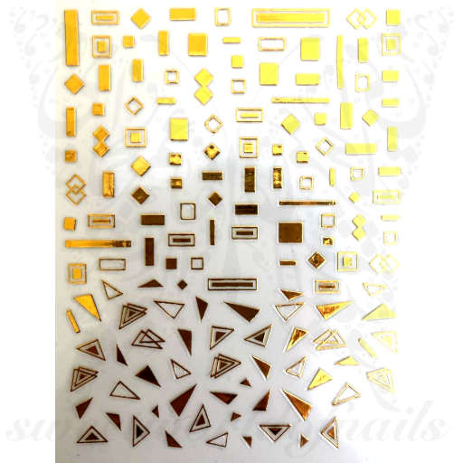 Geometric Nail Art Gold Lines Shapes Stickers