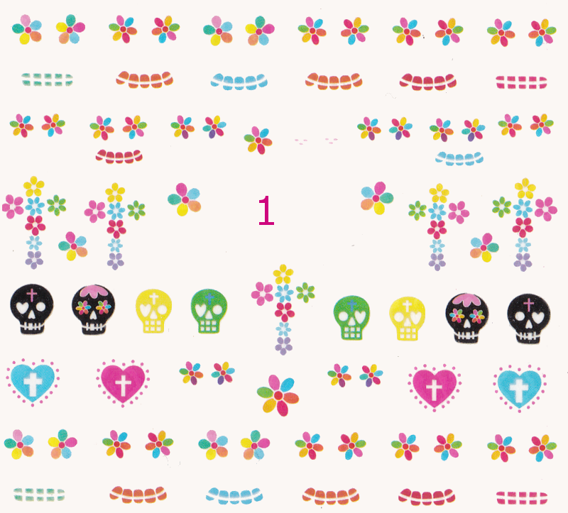 Glow in the dark Sugar Skulls Water Decals