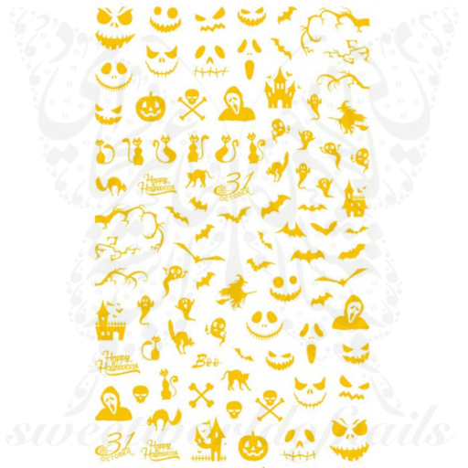 Gold Halloween Nails Jack Pumpkin Nail Stickers
