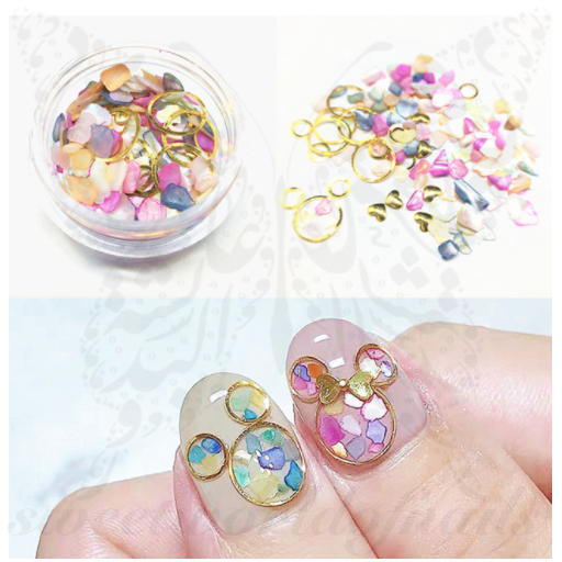 3D Gold Round Colorful stones Nail Art Decoration Mix