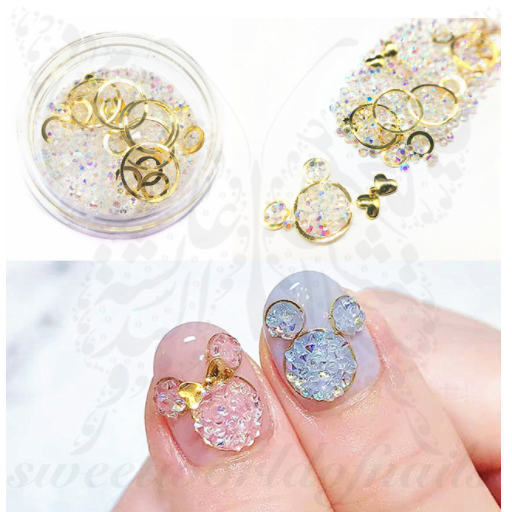 3D Gold Round transparent stones Nail Art Decoration Mix