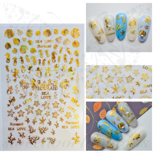 Gold Shells Mermaid Nail Art Stickers
