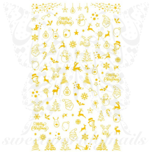 Christmas Nail Art Gold Tree Santa Nail Stickers