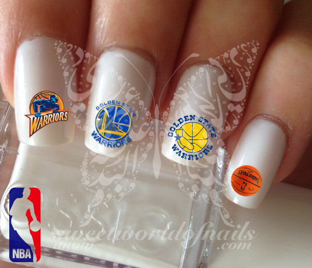 Golden state warriors NBA Basketball Nail Art Water Decals Nail Transfers  Wraps - Golden State Warriors NBA Basketball Nail Art Water Decals Nail Transf