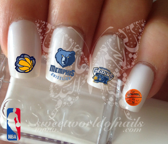 Memphis Grizzlies NBA Basketball Nail Art Water Decals Nail Transfers Wraps
