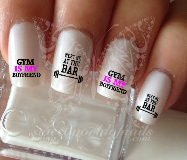 Gym Nail Art Water Decals Nail Transfers Gym Is My Boyfriend Meet Me A