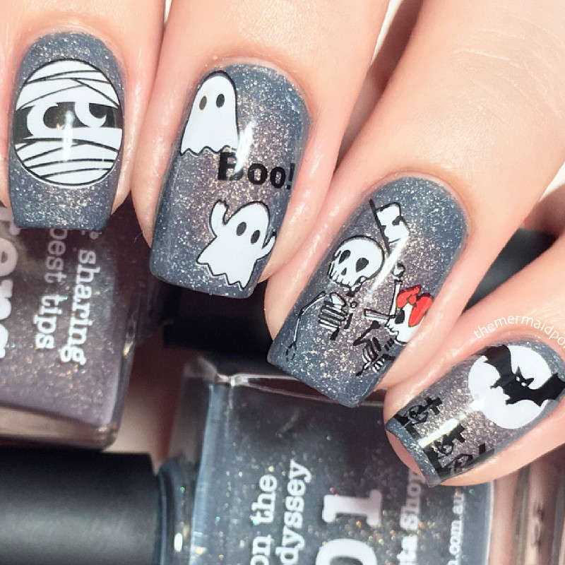 Halloween Mummy Nails Skeleton Nail Water Decals