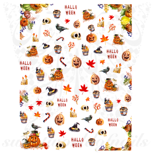 Halloween Nails Scary Pumpkins Nail Stickers