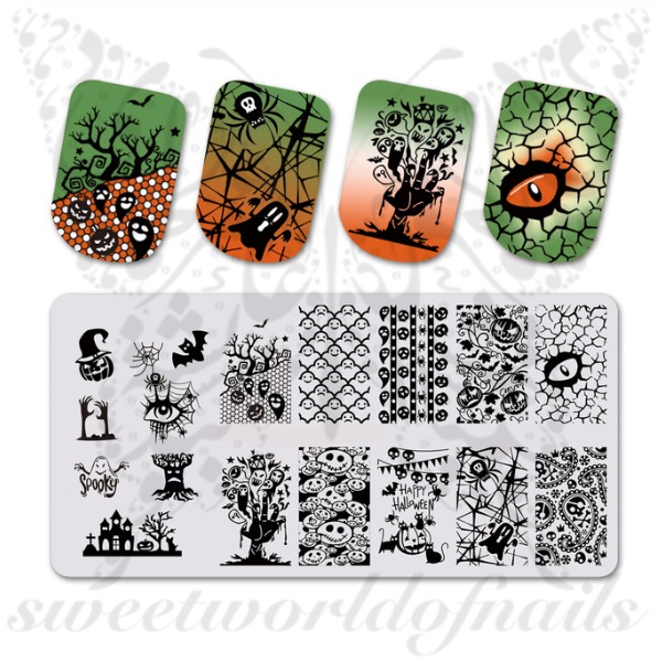 Halloween Nails Stamping Plate Scary Eye
