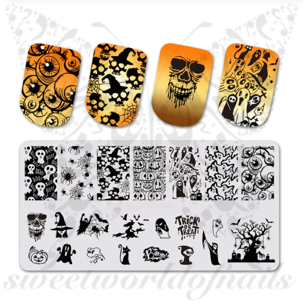 Halloween Nails Stamping Plate Trick or Treat