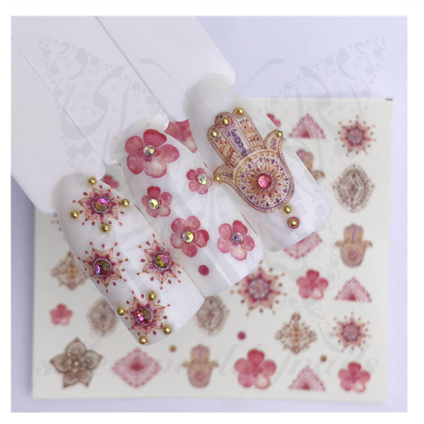 Pink Hamsa Flower Nail Art Water Decals