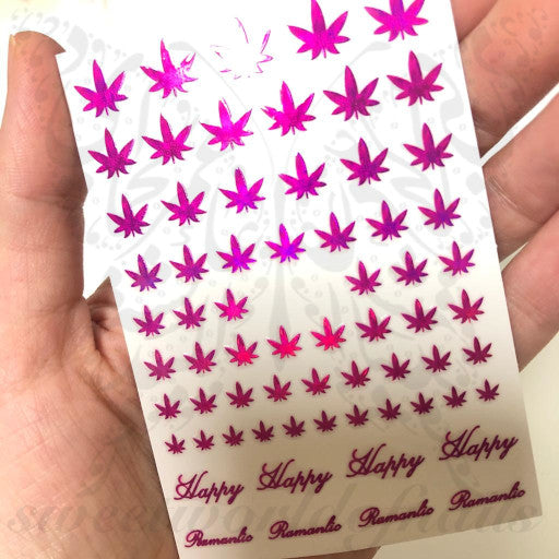 Weed Leaf Nail Art Nail Stickers