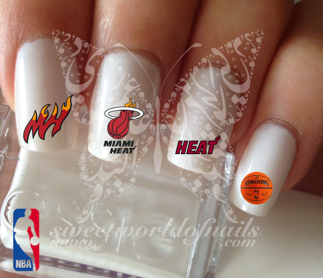 Miami Heat NBA Basketball Nail Art Water Decals Nail Transfers Wraps
