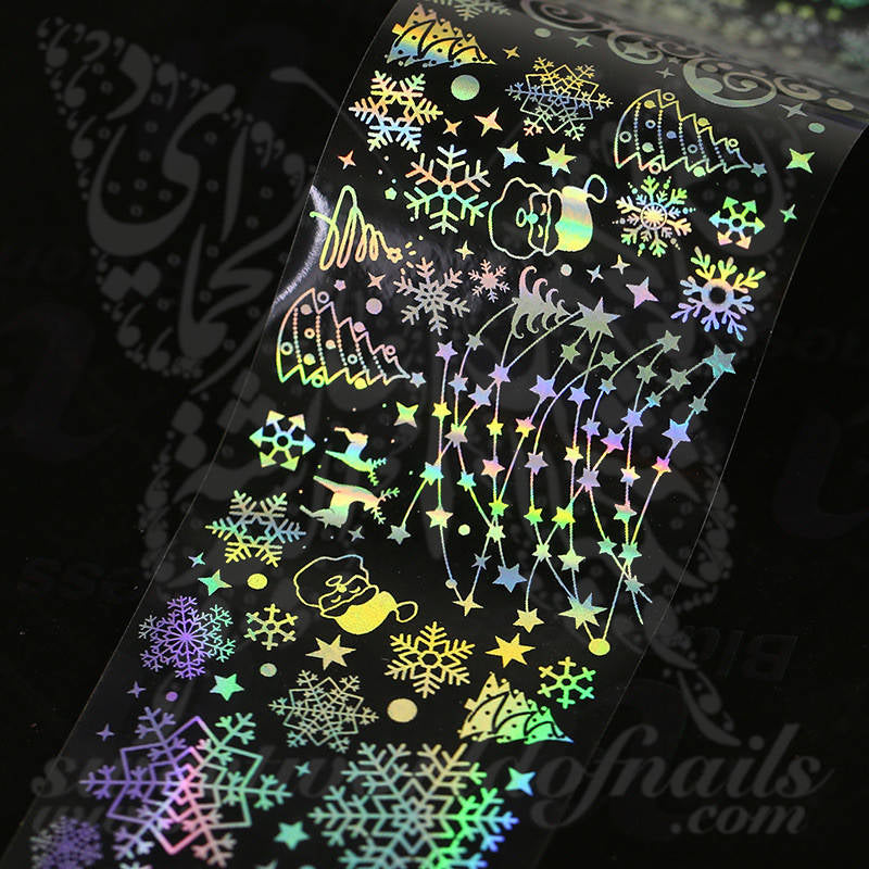 Christmas Holographic Transparent Nail Foil Paper Nail Art