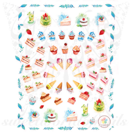 Ice Cream Nails Cake Nail Art Stickers