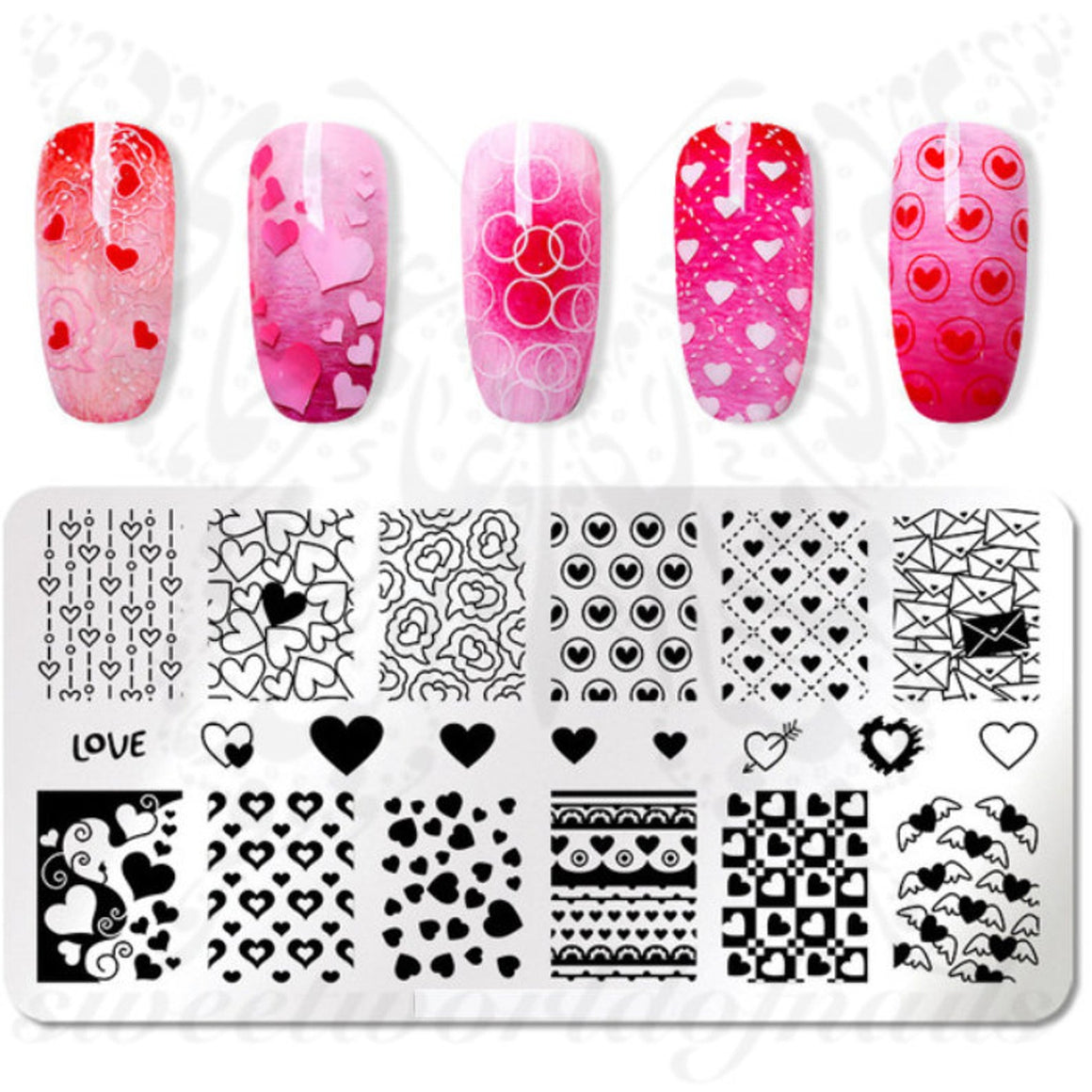 Valentine's Day Nail Art Stamping Plate