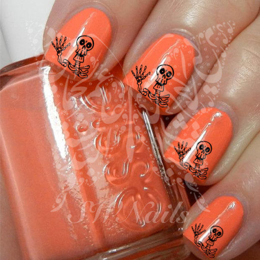 Skeleton Black Skull  Nail Art Water Decals Transfers