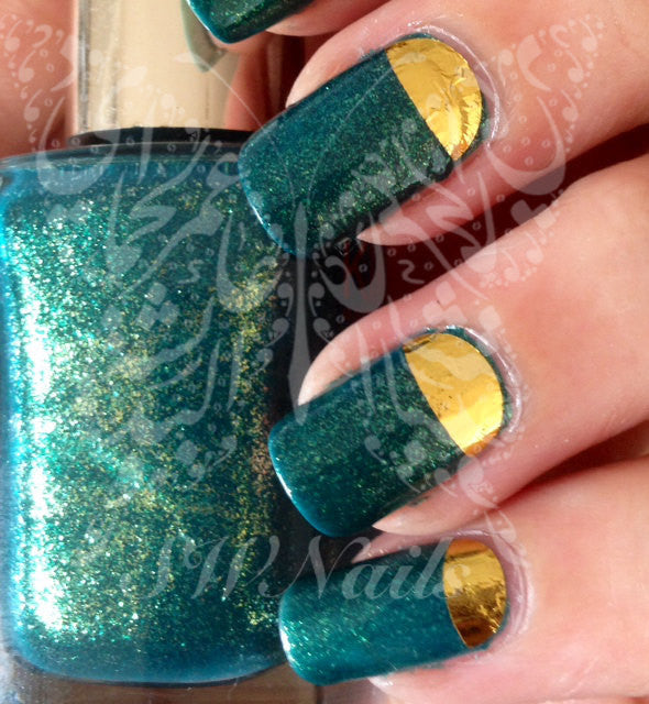 Nail Art Gold Half Moon Nail Water Decals Transfers Wraps