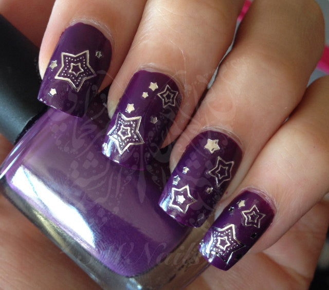 Silver Stars Nail Art Water Decals Transfers Wraps