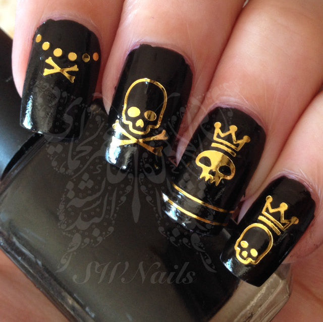 - Golden Skulls Nail Art Water Decals Transfers Wraps