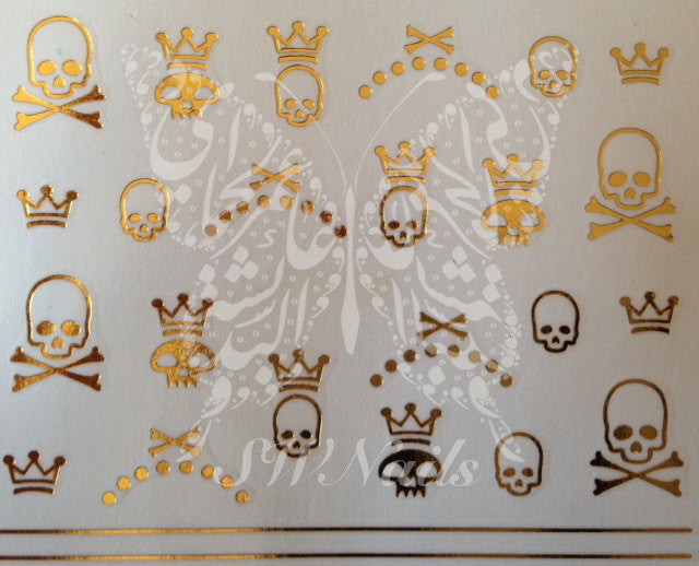 Golden Skulls Nail Art Water Decals Transfers Wraps