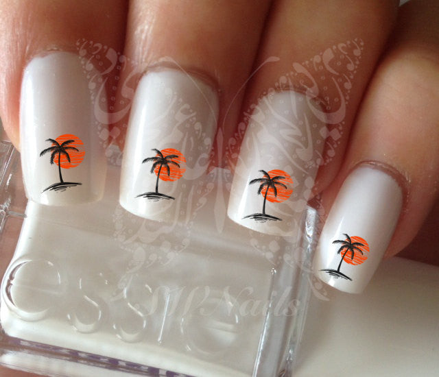 Nail Art Palm Tree Sunset Nail Water Decals Transfers Wraps Black Palm