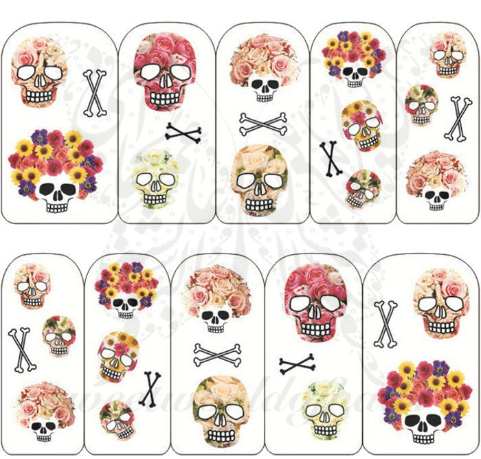 Sugar Skulls  and Bones Nail Art Nail Water Decals