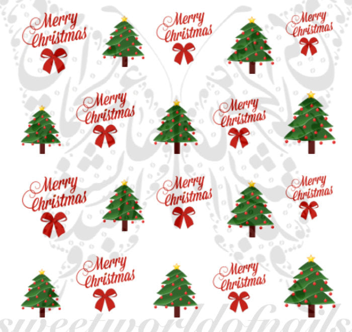Merry Christmas Xmas Tree Nail Art Water Decals Nail Transfers Wraps