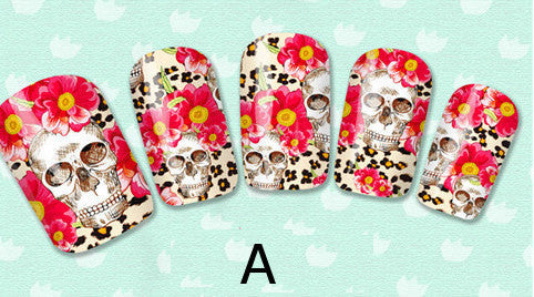 Skulls Nail Art Skulls and Flowers Nail Water Full Wraps Water Slides