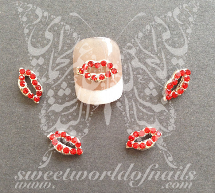 Valentine'e Day Nail Art 3D Decoration 3D Red Lips Metal Rhinestone Charms
