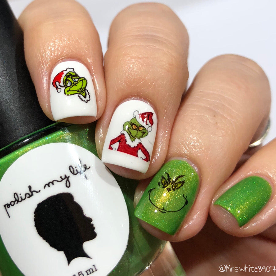 The Grinch Nail Art Nail Water Decals Transfers