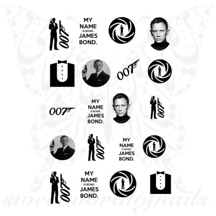 James Bond Nails 007 Daniel Craig Water Decals