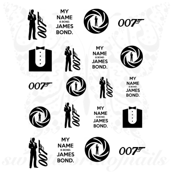 James Bond Nails 007 Water Decals