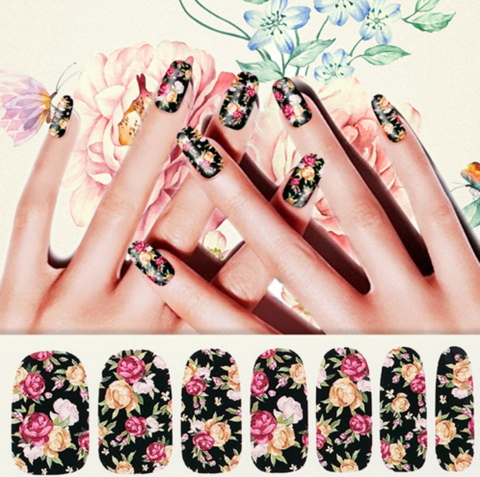 Vintage Flower Nail Art Water Full Wraps Transfers